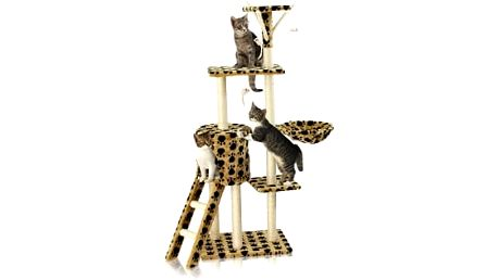 Škrabadlo pro kočky Hawaj, 138x50,5x36 cm, s tlapkovým vzorem