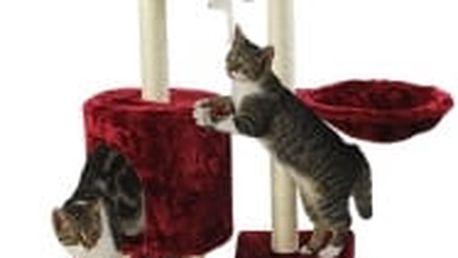 Škrabadlo pro kočky, 138x50,5x36 cm , barva vínová