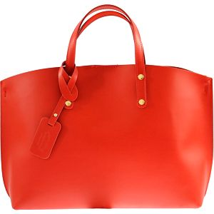 Červená kožená kabelka City - doprava zdarma!