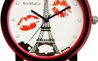 Dámské hodinky s Eiffelovkou a puntíkovaným páskem