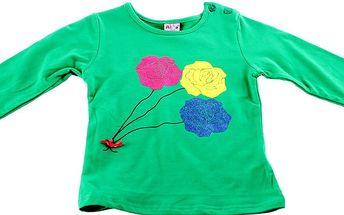 Dívčí tričko s dlouhými rukávy Ativo vel. 2 roky, 92 cm