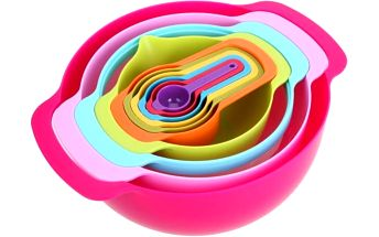 Sada plastových kuchyňských misek v duhových barvách - 10 ks - skladovka - poštovné zdarma
