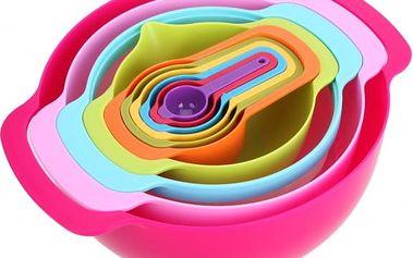 Sada plastových kuchyňských misek v duhových barvách - 10 ks - dodání do 2 dnů