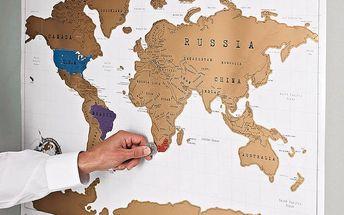 Seškrábavací mapa světa Ambiance Scratch Map, 88 x 52 cm