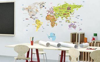 Velká samolepící mapa světa Ambiance Fanastick, 120 x 150 cm