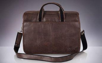 Pánská taška Solier S13, tmavě hnědá - doprava zdarma!