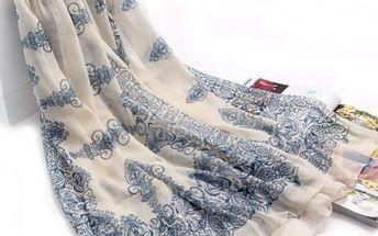 Elegantní šál s potiskem - bílá - dodání do 2 dnů