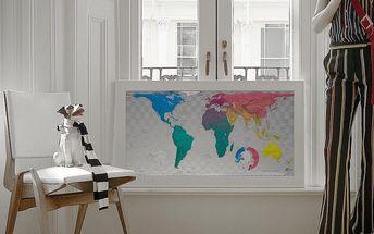 Mapa světa Future Map 101x57 cm, modro-růžové odstíny