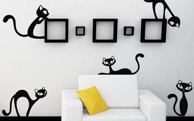Samolepka na stěnu Wallvinil Malé nezbedné kočky, černá