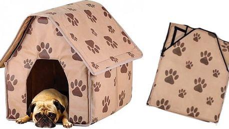 Rozložitelný pelíšek pro psa či kočku ve tvaru boudy v hnědé barvě