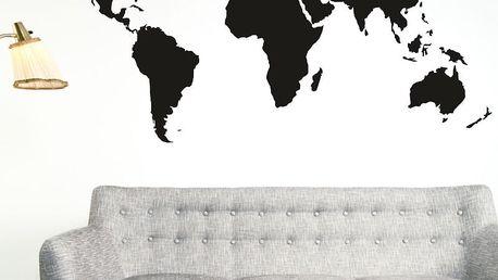 Samolepka na stěnu Wallvinil Velká mapa světa, černá