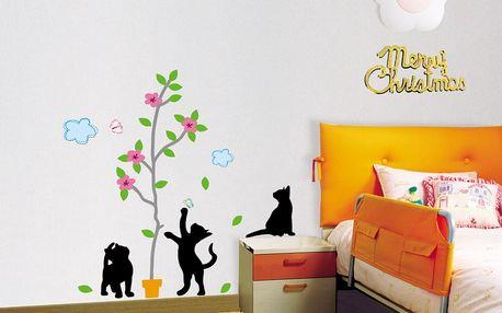 MaDéco Nástěnná samolepka Černé kočky a strom