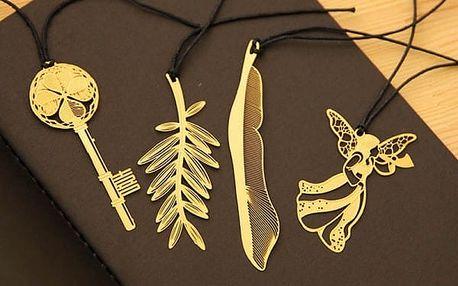 Elegantní záložky ve zlaté barvě - 4 druhy
