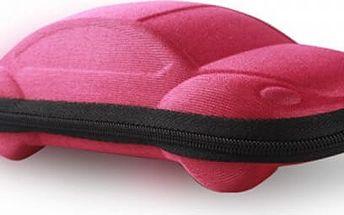 Pouzdro na brýle v podobě auta - růžová s křiklavě zeleným zipem - dodání do 2 dnů