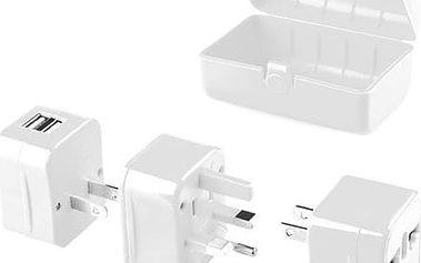 GoGEN cestovní adaptér pro 150 zemí, 2x USB, bílá - GOGTC062WORLD