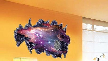 3D samolepka na zeď - Meteorit brázdící galaxii
