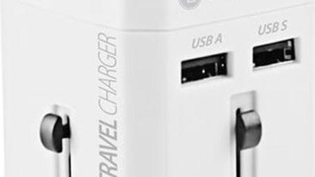 GoGEN cestovní adaptér pro 150 zemí, 2x USB, bílá - GOGTC163WORLDW