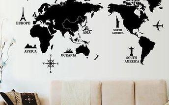 Samolepka na zeď - Mapa celého světa