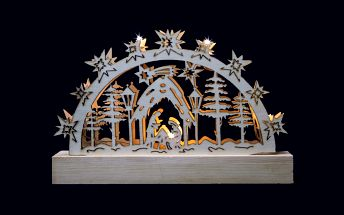 Vánoční dekorace - dřevěný svícen s žárovkami