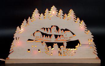 Vánoční dekorace - velký dřevěný svícen s žárovkami