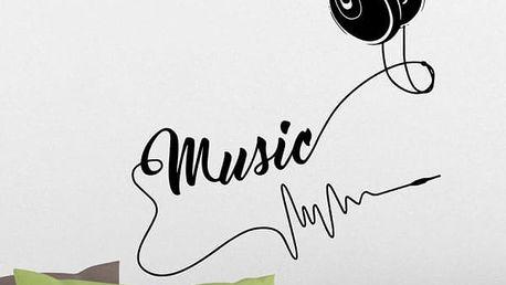 Samolepka na zeď - Hudební sluchátka