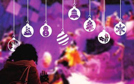 Vánoční samolepka na sklo - zavěšené ozdoby - poštovné zdarma