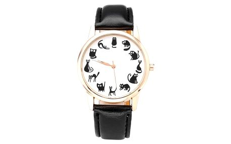 Dámské hodinky s černými kočičkami