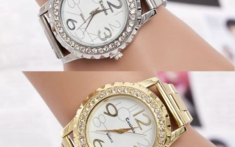 Dámské kovové hodinky s lemováním z kamínků - 3 barvy