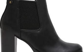 Dámské černé lesklé kotníčkové boty Nicky 1069