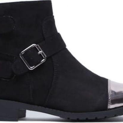 Dámské černé stříbrné kotníkové boty Elsie 2032