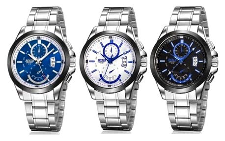 Pánské kovové hodinky s kalendářem - 3 varianty