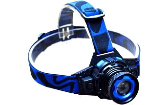 Modrá vodotěsná LED čelovka