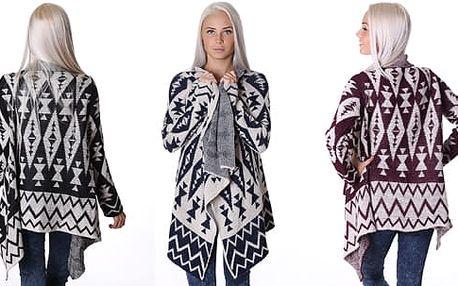 Pletený dámský svetr s asymetrickým střihem