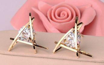 Trojúhelníkové náušnice s kamínkem