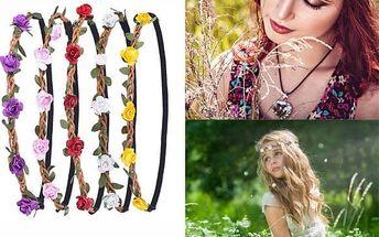 Květinová čelenka s elastickým páskem - 5 ks