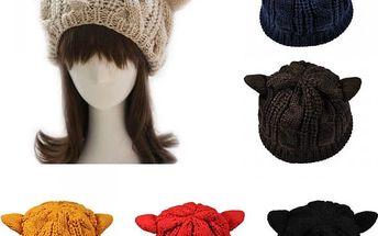 Dámská zimní čepice s kočičími oušky