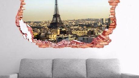 Samolepka na zeď - Otvor s výhledem na Paříž