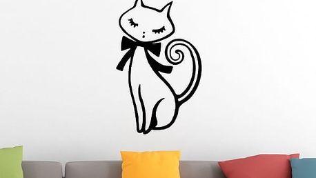 Samolepka na zeď - Kočička s mašličkou