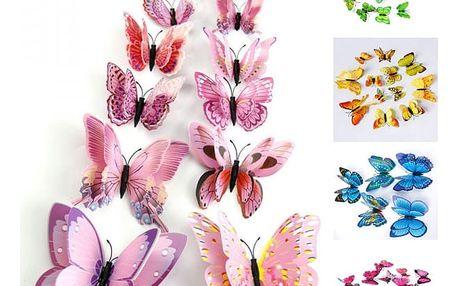 Sada 12 různých motýlků - 5 barev