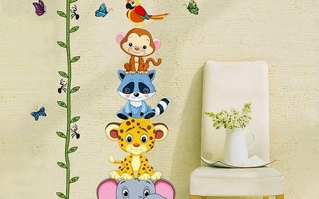Dětský metr na zeď se zvířátky