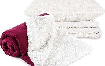 Beránková sada deky, povlaku na polštář a prostěradla