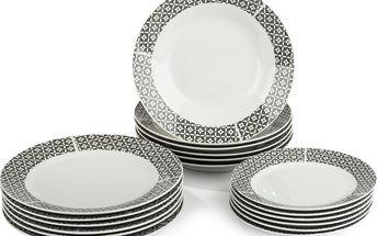 18dílná jídelní sada porcelánových talířů