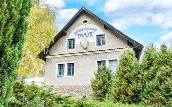 3–4denní pobyt pro 2 osoby s lahví vína v hotelu Landštejnský dvůr*** u Slavonic