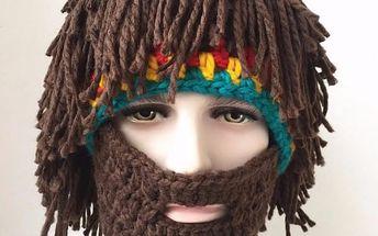 Pánská čepice s vousy a rasta copánky - poštovné zdarma
