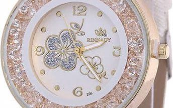 Módní hodinky se vzory květin na ciferníku