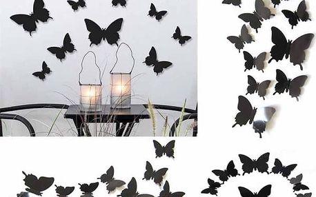 3D motýlci na zeď - černá barva - dodání do 2 dnů