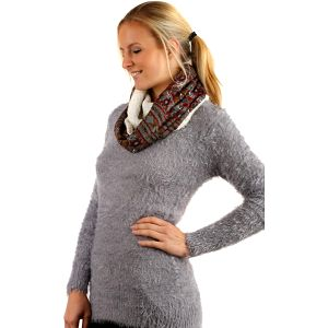 Nádherný oboustranný šátek s kožíškem šedá