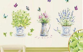 Samolepka na zeď - jaro v květináčích - 60 x 90 cm - poštovné zdarma