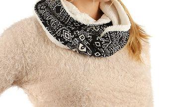 Nádherný oboustranný šátek s kožíškem černá