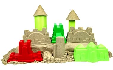 Barevný tekutý písek pro děti od 3 let včetně poštovného: 6 formiček, lopatka a 4 barvy písku